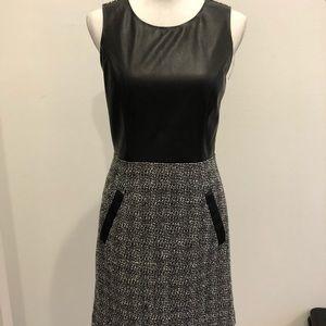 Banana Republic Black Faux Leather/Tweed Dress